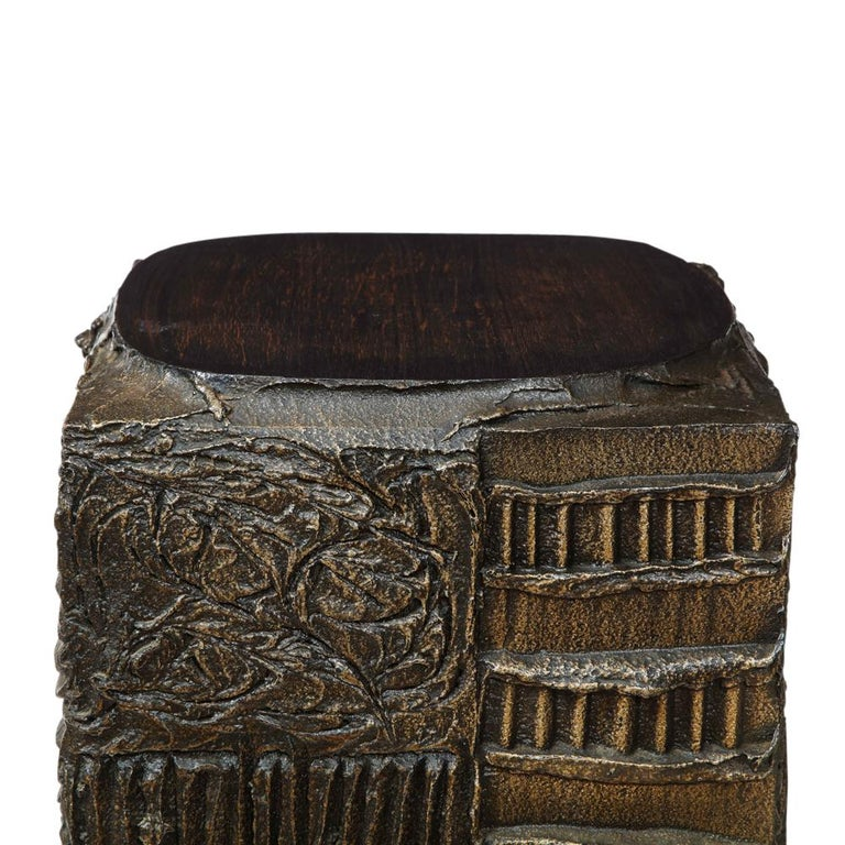 Paul Evans Side Table, Sculpted Bronze and Walnut, Signed For Sale 6