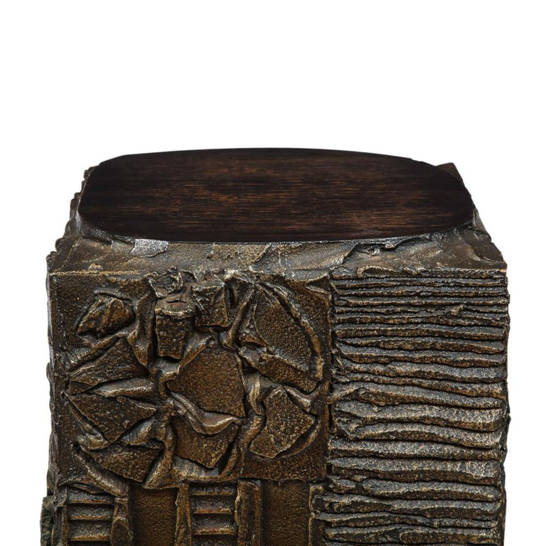 Paul Evans Side Table, Sculpted Bronze and Walnut, Signed For Sale 7