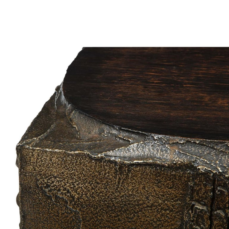 Paul Evans Side Table, Sculpted Bronze and Walnut, Signed For Sale 8