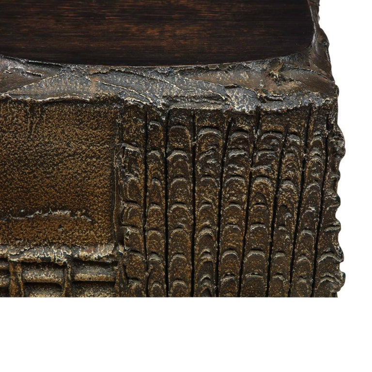 Paul Evans Side Table, Sculpted Bronze and Walnut, Signed For Sale 10