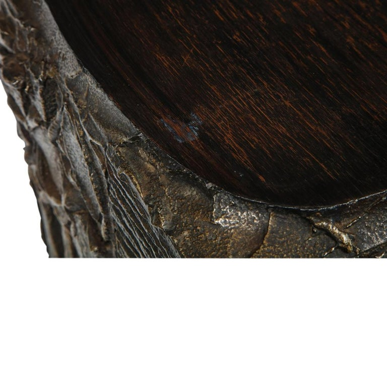 Paul Evans Side Table, Sculpted Bronze and Walnut, Signed For Sale 12