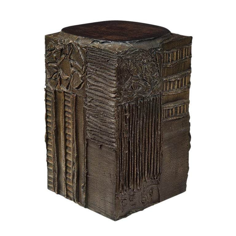 Paul Evans Side Table, Sculpted Bronze and Walnut, Signed For Sale 1