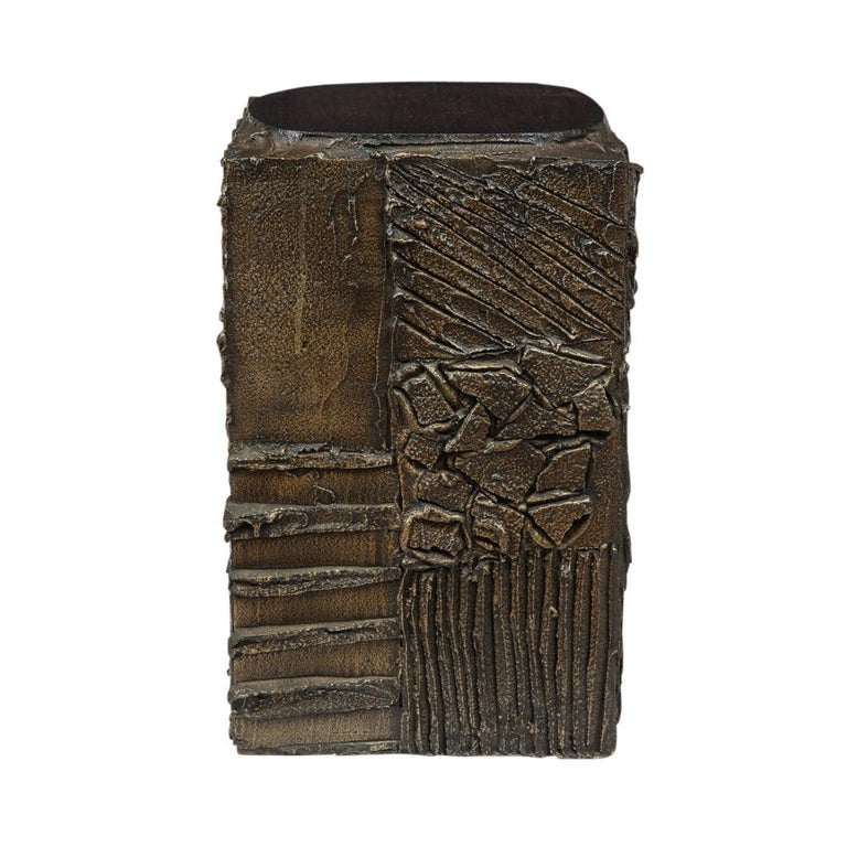 Paul Evans Side Table, Sculpted Bronze and Walnut, Signed For Sale 3