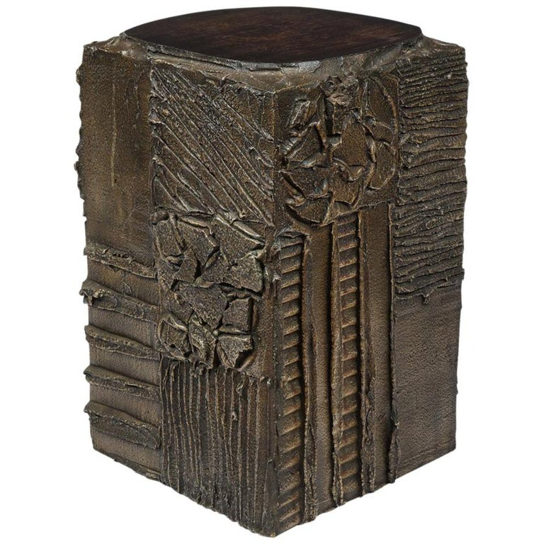 Paul Evans Side Table, Sculpted Bronze and Walnut, Signed For Sale