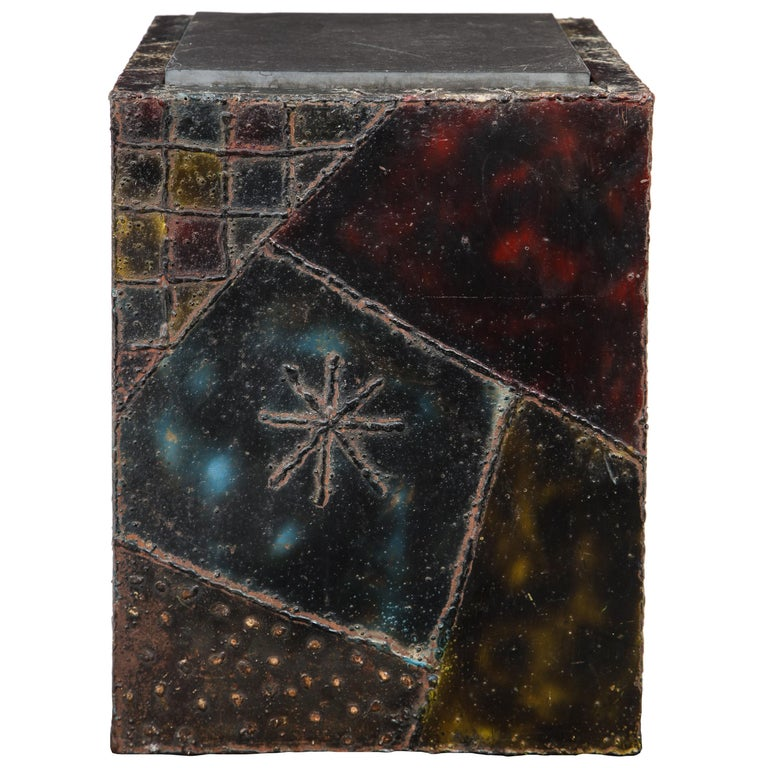 Paul Evans Side Table, Welded Painted Steel, Bronze and Slate, Signed For Sale