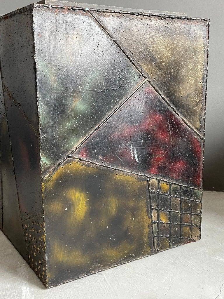 Brutalist Paul Evans, Side Tables, Steel, Slate, Artists Studio for Directional, 1971 For Sale