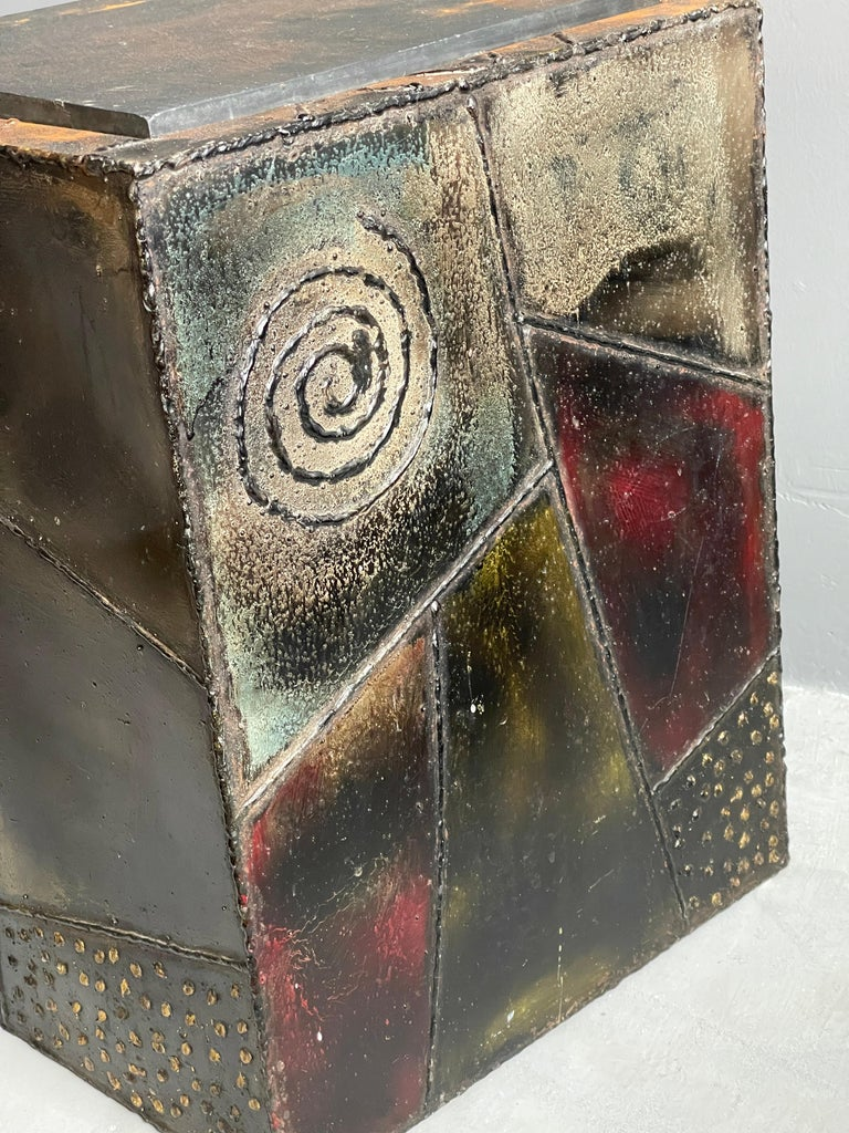 Paul Evans, Side Tables, Steel, Slate, Artists Studio for Directional, 1971 In Good Condition For Sale In West Palm Beach, FL
