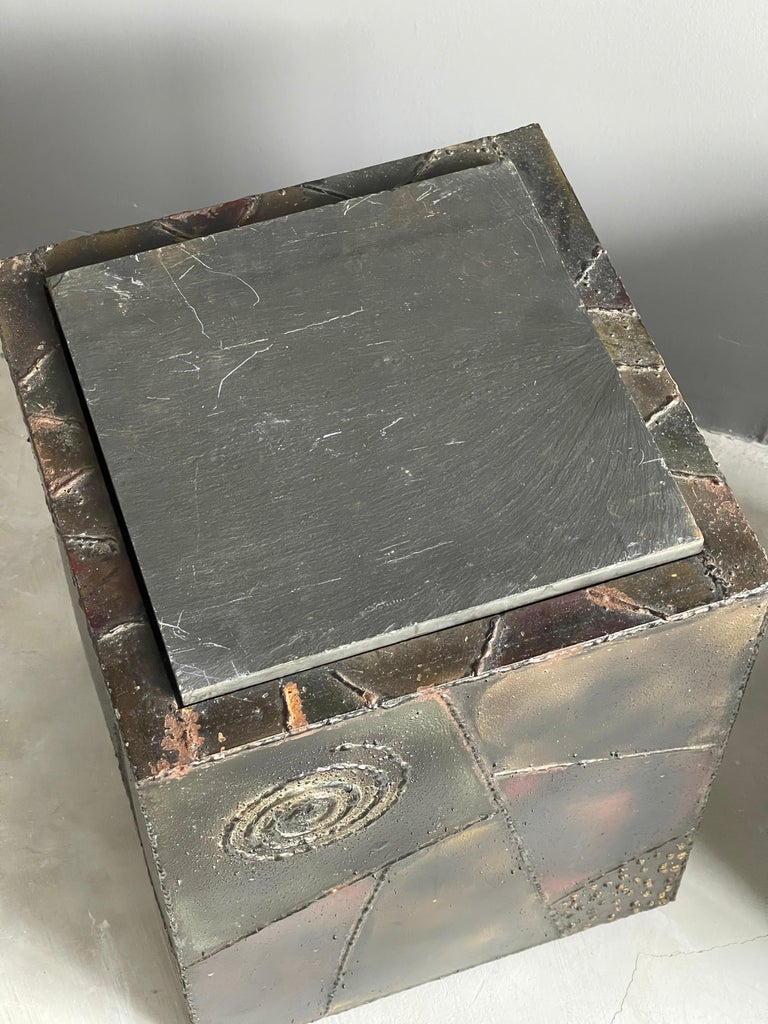 Late 20th Century Paul Evans, Side Tables, Steel, Slate, Artists Studio for Directional, 1971 For Sale