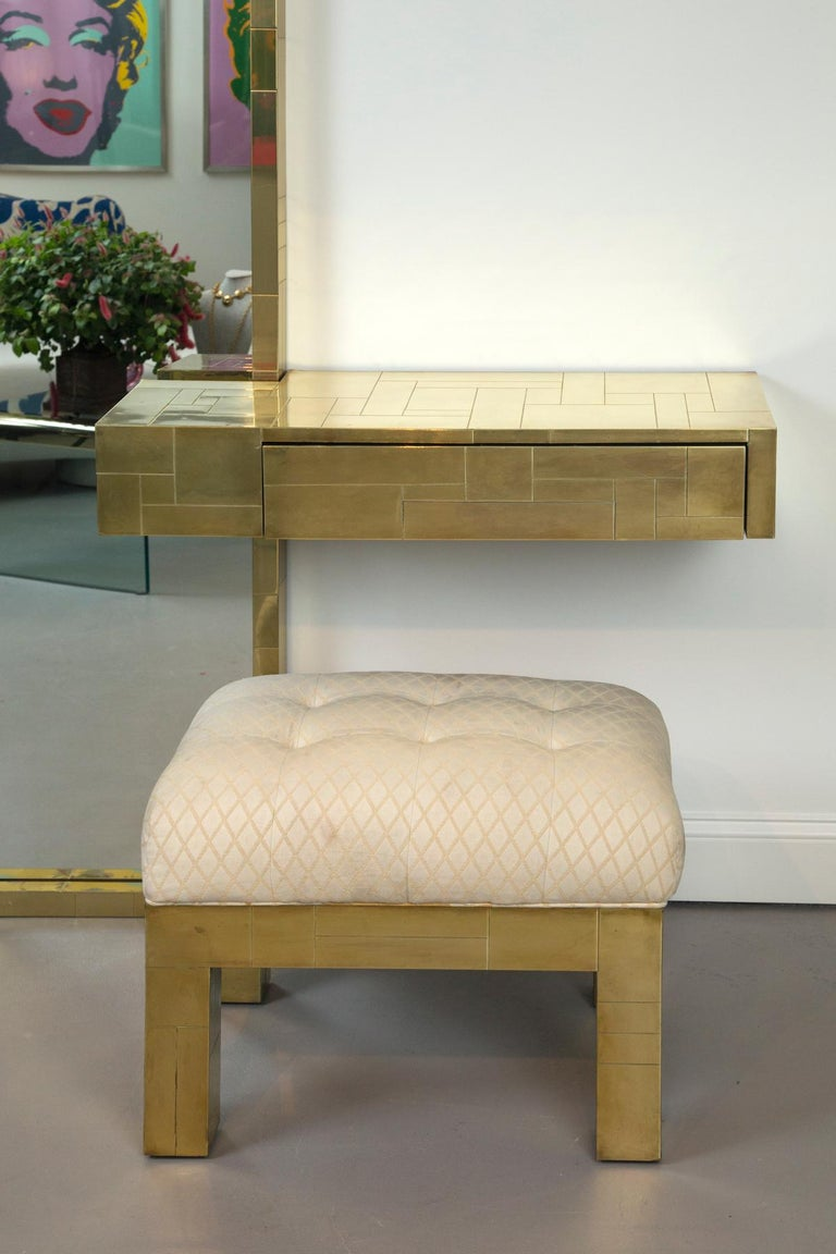 American Paul Evans Signed Cityscape Brass Console with Mirror and Bench For Sale
