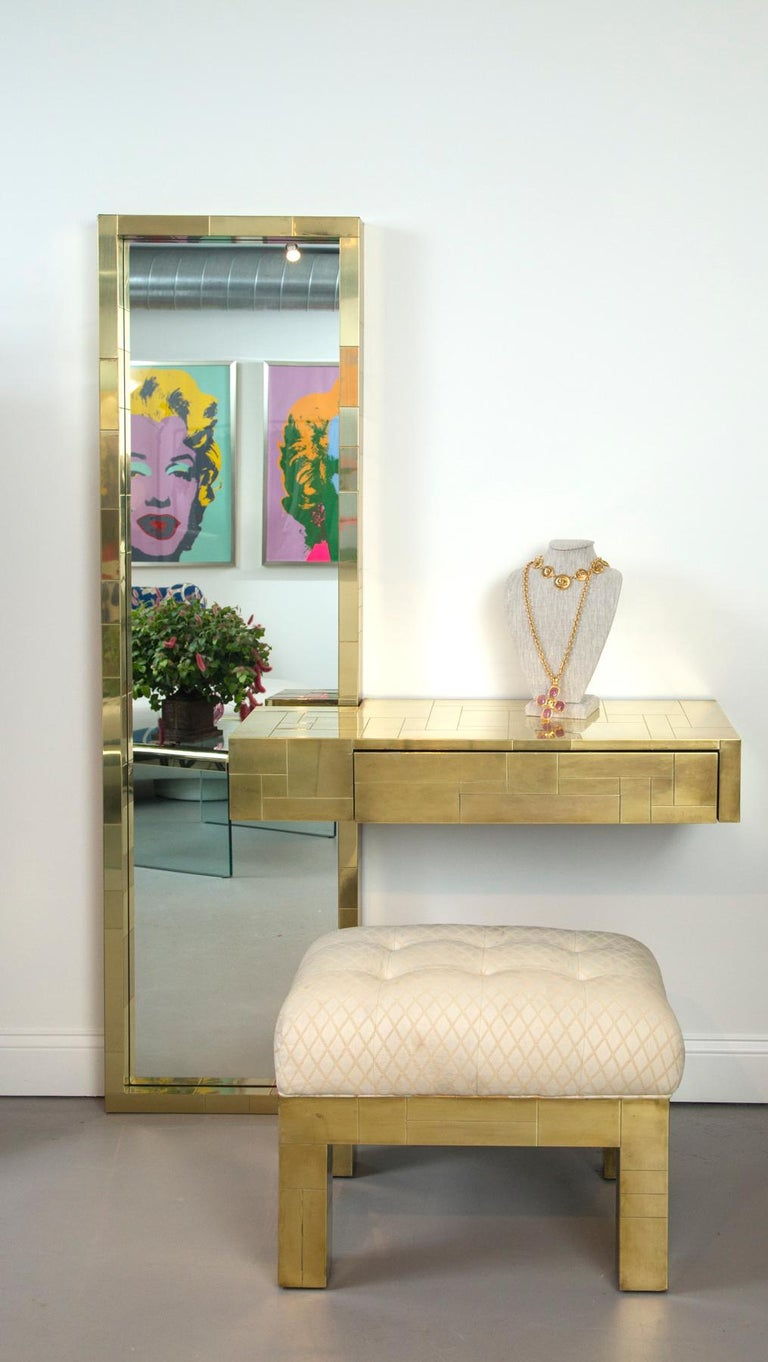 Late 20th Century Paul Evans Signed Cityscape Brass Console with Mirror and Bench For Sale
