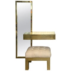 Paul Evans Signed Cityscape Brass Console with Mirror and Bench