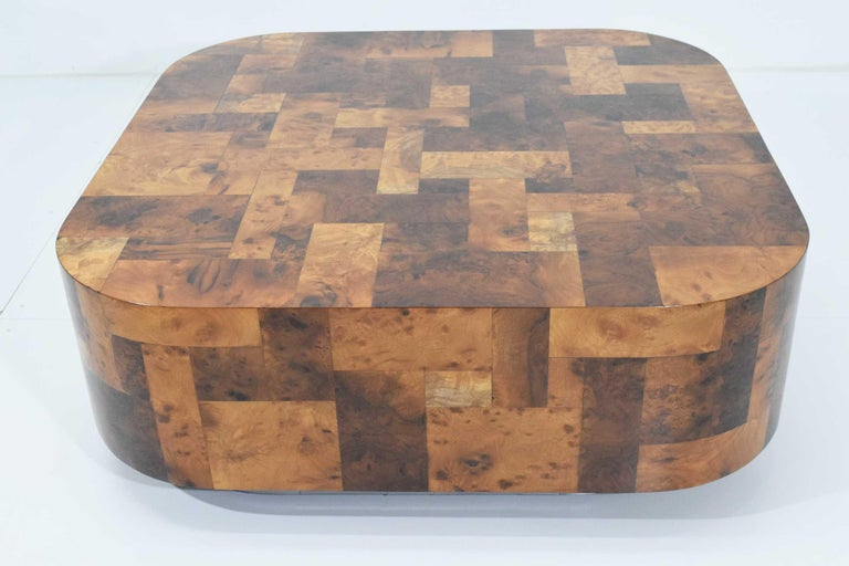 Mid-Century Modern Paul Evans Signed Patchwork Cityscape Burl Wood Cocktail Table For Sale