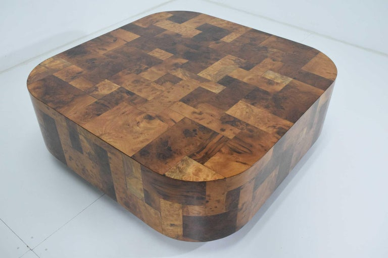 American Paul Evans Signed Patchwork Cityscape Burl Wood Cocktail Table For Sale