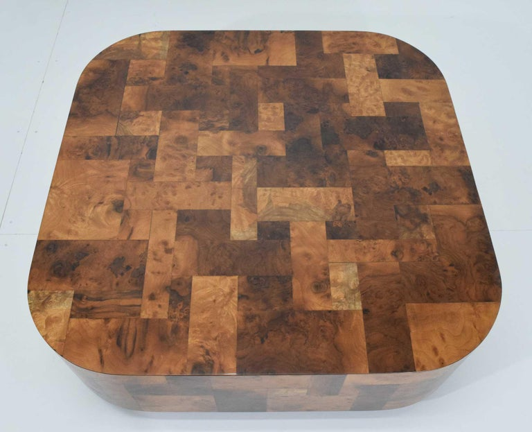 Paul Evans Signed Patchwork Cityscape Burl Wood Cocktail Table In Good Condition For Sale In Dallas, TX