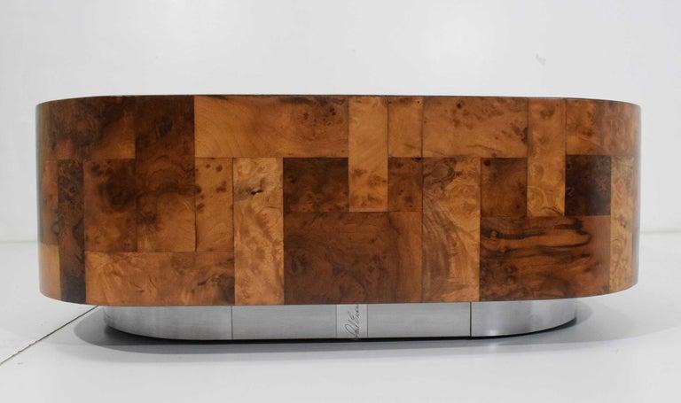 Paul Evans Signed Patchwork Cityscape Burl Wood Cocktail Table For Sale 1