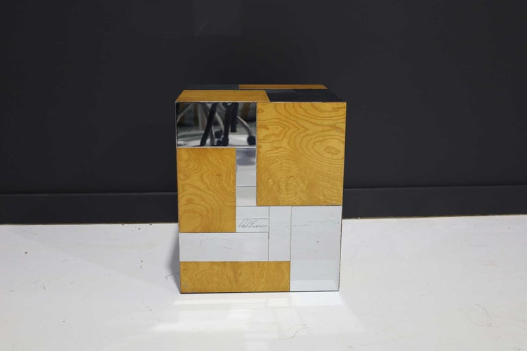 Beautiful Paul Evans signed Cityscape side table in burl wood and chrome.