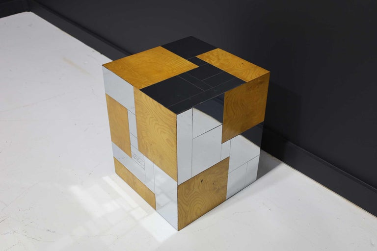 20th Century Paul Evans Signed Side Table in Burl Wood and Chrome For Sale