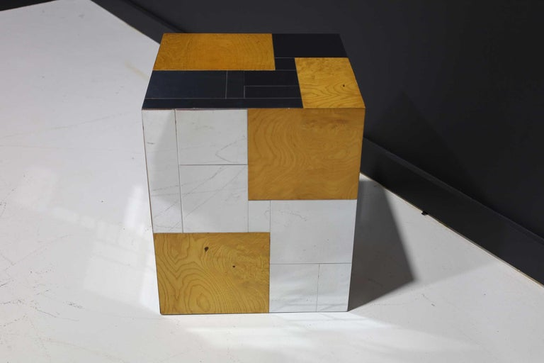 Paul Evans Signed Side Table in Burl Wood and Chrome For Sale 1