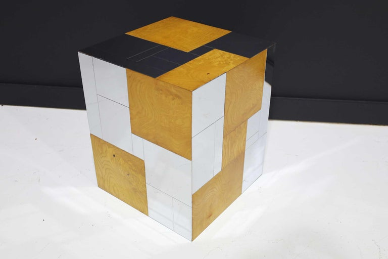 Paul Evans Signed Side Table in Burl Wood and Chrome For Sale 3