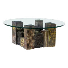 Paul Evans Skyline Coffee Table, Steel, Bronze and Glass Signed