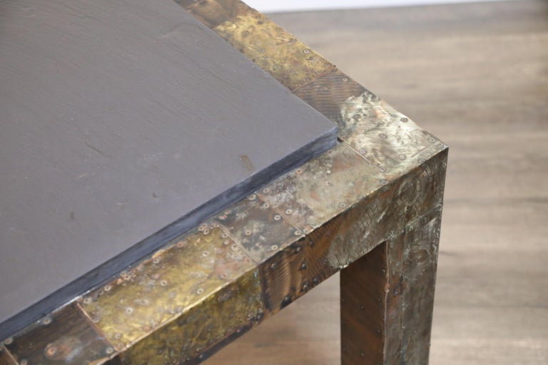 Paul Evans Slate Top Patinated Copper Patchwork Cafe Breakfast Table, 1970s For Sale 4