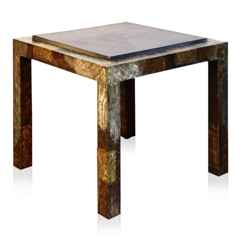 Paul Evans Slate Top Patinated Copper Patchwork Cafe Breakfast Table, 1970s For Sale 5