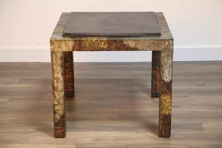 Paul Evans Slate Top Patinated Copper Patchwork Cafe Breakfast Table, 1970s For Sale 6