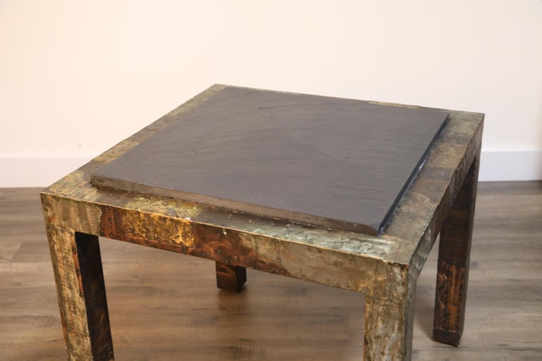 Paul Evans Slate Top Patinated Copper Patchwork Cafe Breakfast Table, 1970s For Sale 7
