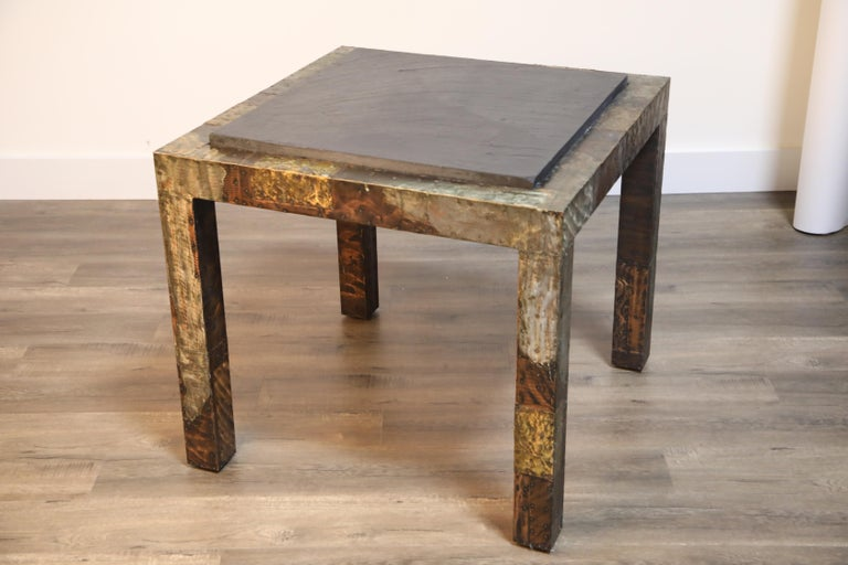 Paul Evans Slate Top Patinated Copper Patchwork Cafe Breakfast Table, 1970s For Sale 9