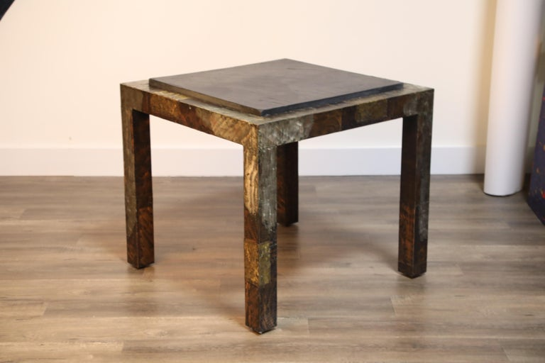 Paul Evans Slate Top Patinated Copper Patchwork Cafe Breakfast Table, 1970s For Sale 11