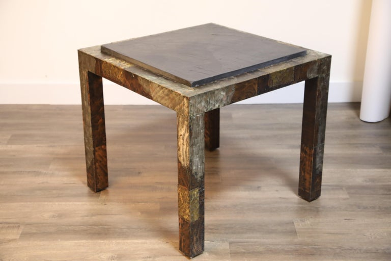 Paul Evans Slate Top Patinated Copper Patchwork Cafe Breakfast Table, 1970s For Sale 12