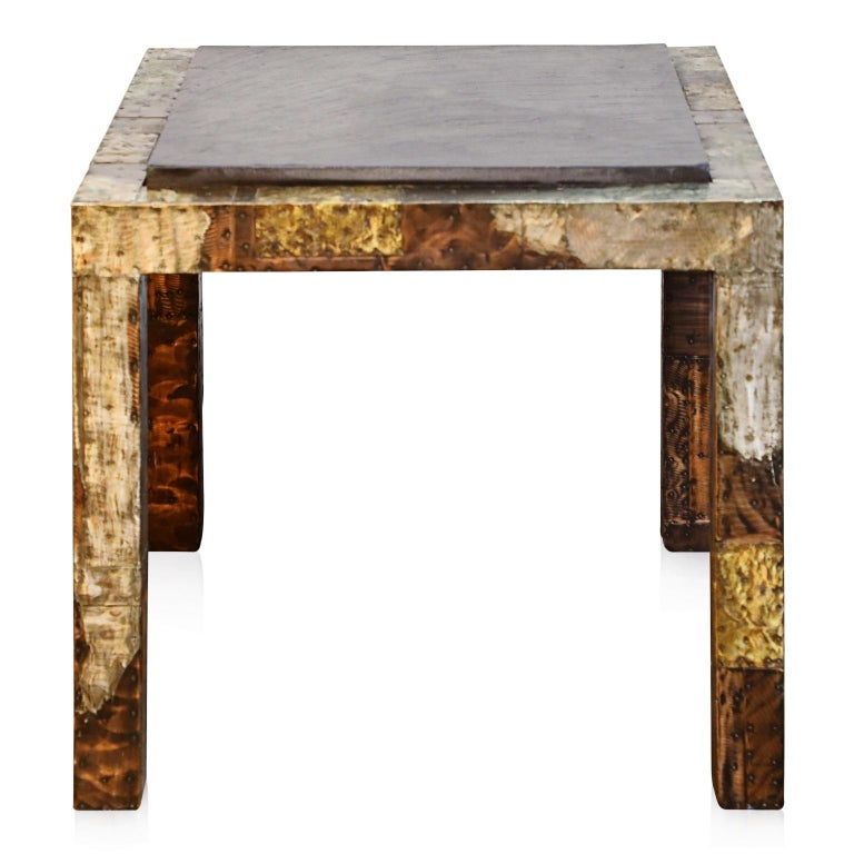 American Paul Evans Slate Top Patinated Copper Patchwork Cafe Breakfast Table, 1970s For Sale