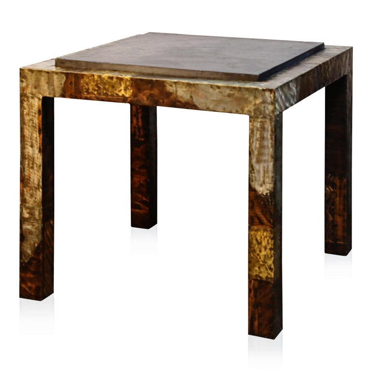 Late 20th Century Paul Evans Slate Top Patinated Copper Patchwork Cafe Breakfast Table, 1970s For Sale