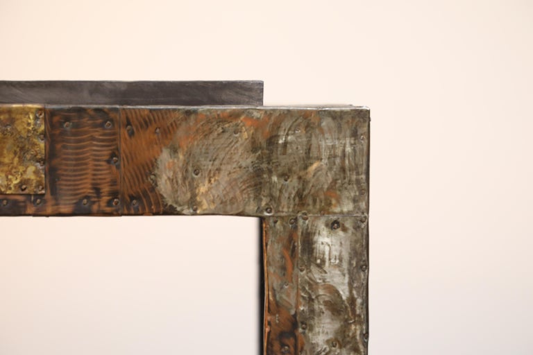 Brass Paul Evans Slate Top Patinated Copper Patchwork Cafe Breakfast Table, 1970s For Sale
