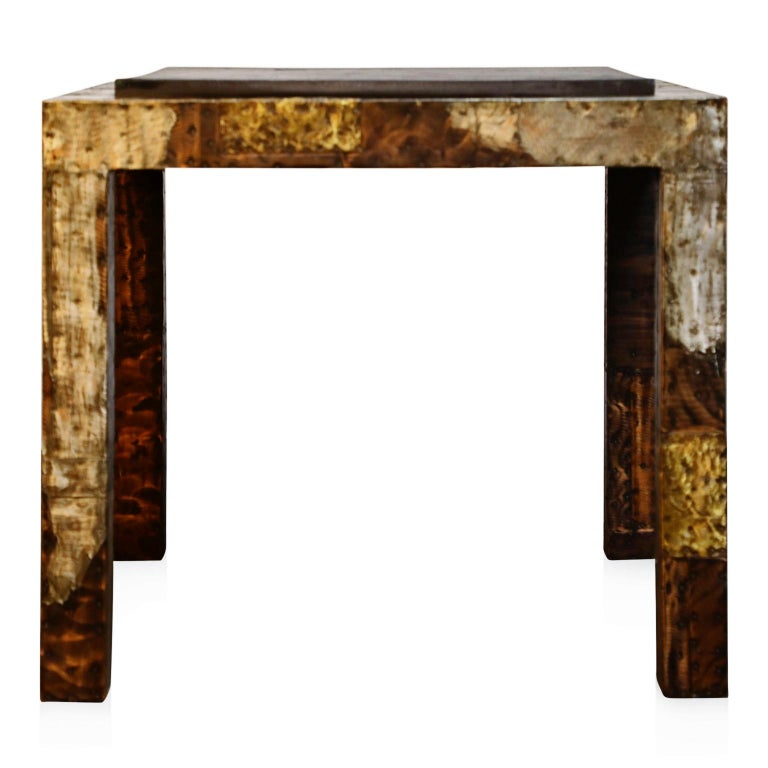 Paul Evans Slate Top Patinated Copper Patchwork Cafe Breakfast Table, 1970s For Sale 2
