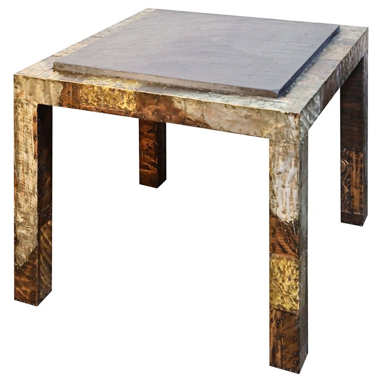 Paul Evans Slate Top Patinated Copper Patchwork Cafe Breakfast Table, 1970s For Sale