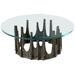 Paul Evans Stalagmite Coffee Table, Brutalist Style with New Glass Top