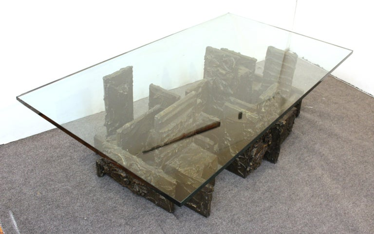 Paul Evans Studio Brutalist Bronze Coffee or Cocktail Table For Sale 1