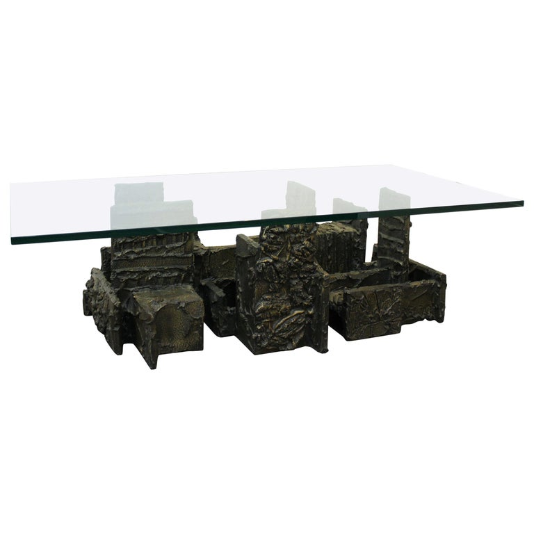 Paul Evans Studio Brutalist Bronze Coffee or Cocktail Table For Sale