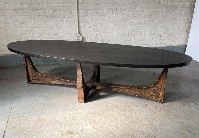 Brutalist Paul Evans Studio Coffee Table with Welded Steel Base and Elliptical Slate Top For Sale