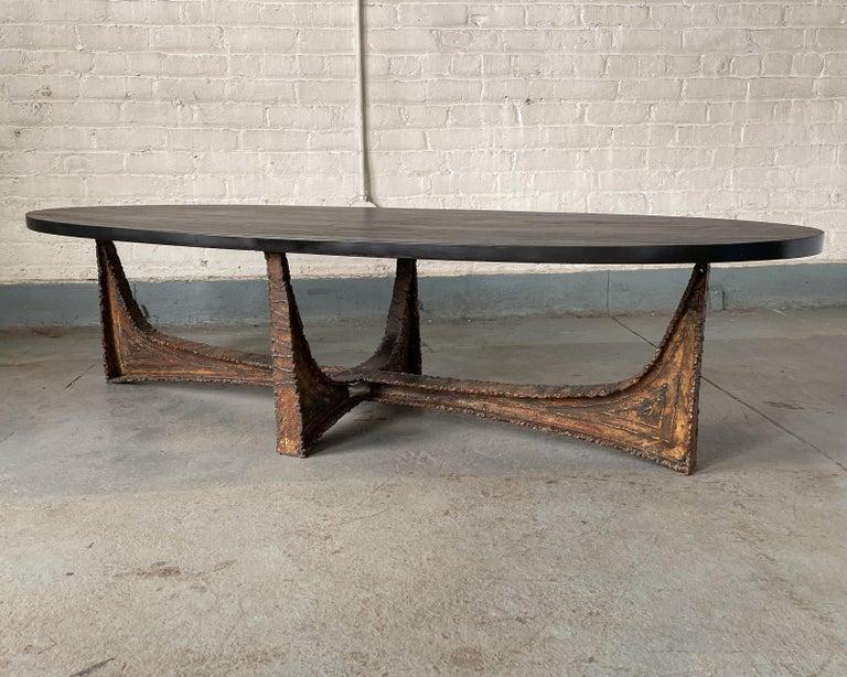 American Paul Evans Studio Coffee Table with Welded Steel Base and Elliptical Slate Top For Sale