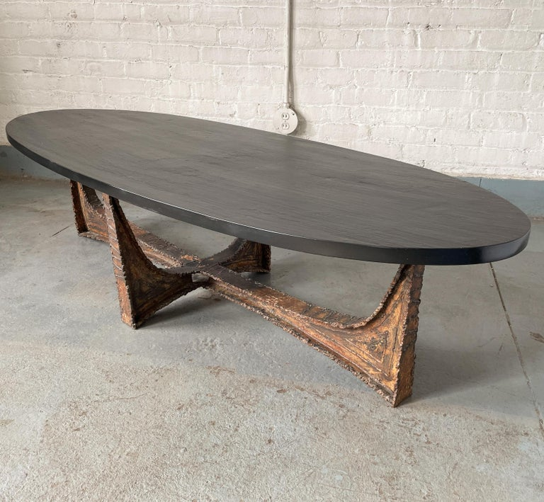 Patinated Paul Evans Studio Coffee Table with Welded Steel Base and Elliptical Slate Top For Sale