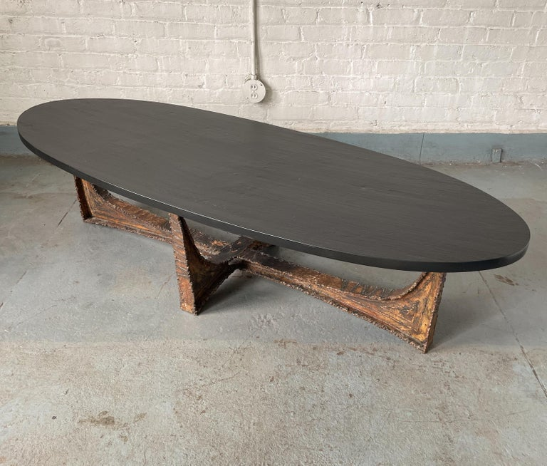 Paul Evans Studio Coffee Table with Welded Steel Base and Elliptical Slate Top In Good Condition For Sale In New York, NY