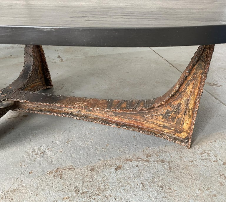 Paul Evans Studio Coffee Table with Welded Steel Base and Elliptical Slate Top For Sale 1