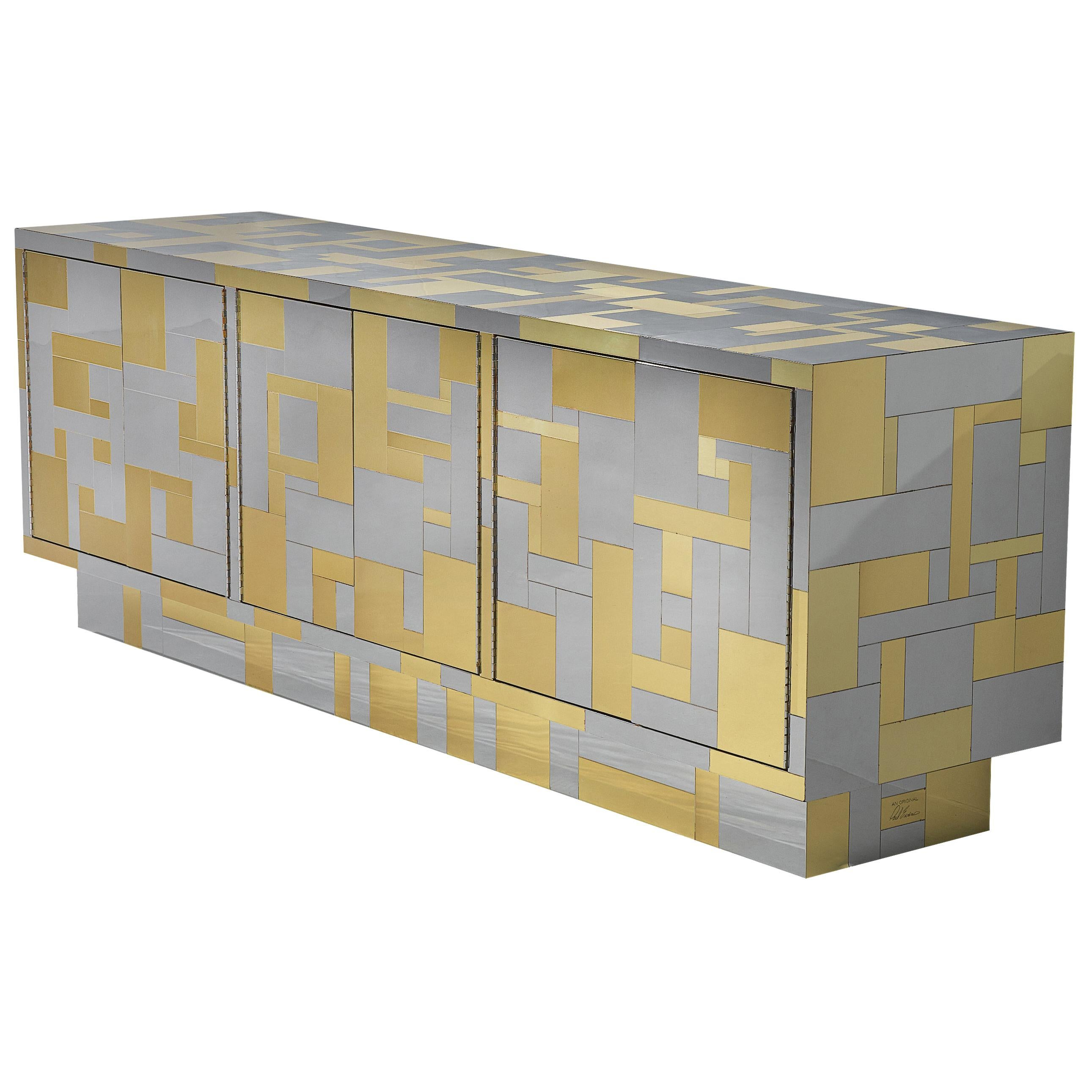 """Paul Evans Stunning """"Cityscape II"""" Sideboard in Chrome and Brass"""