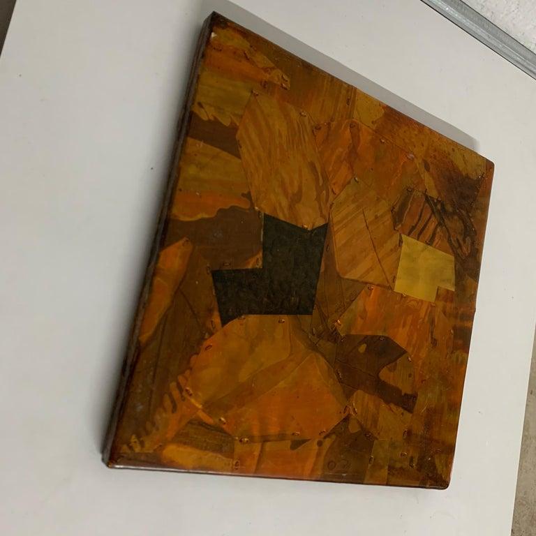 Mid-Century Modern Paul Evans Style Brutalist Patchwork Copper, Brass, and Steel Trivet or Riser For Sale