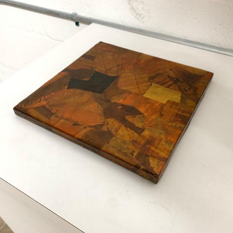 American Paul Evans Style Brutalist Patchwork Copper, Brass, and Steel Trivet or Riser For Sale