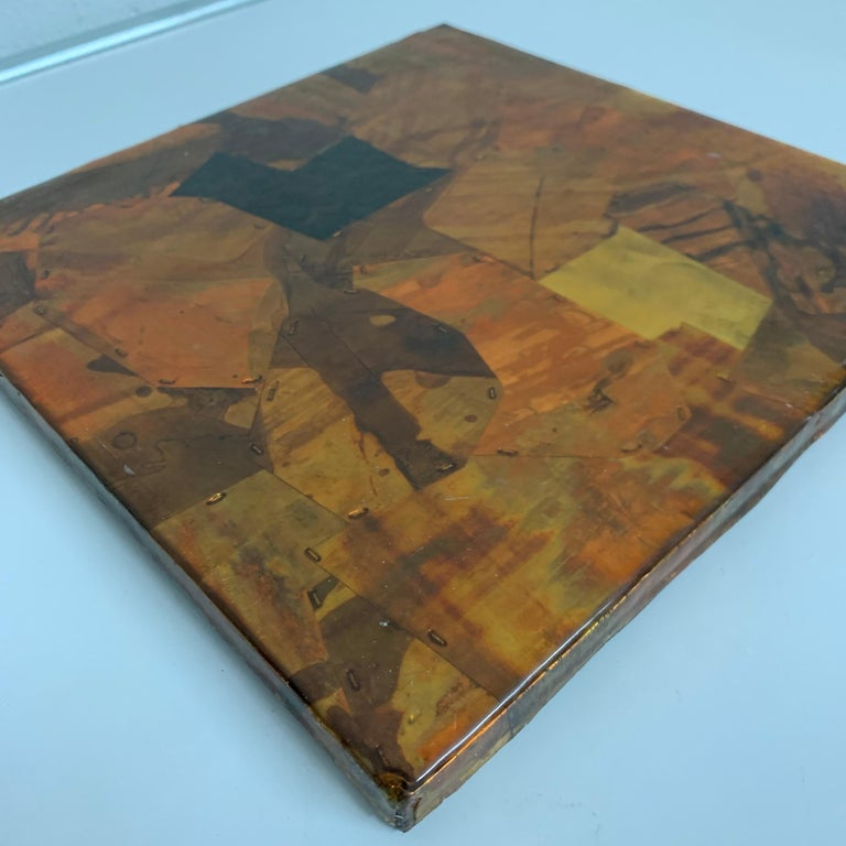 Paul Evans Style Brutalist Patchwork Copper, Brass, and Steel Trivet or Riser In Good Condition For Sale In Miami, FL