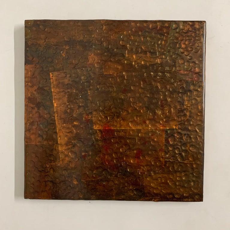 Paul Evans Style Brutalist Patchwork Copper, Brass, and Steel Trivet or Riser For Sale 1
