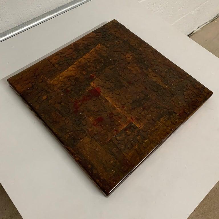 Paul Evans Style Brutalist Patchwork Copper, Brass, and Steel Trivet or Riser For Sale 2